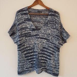 Eileen Fisher multi blue knit v-neck sweater XL